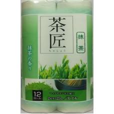 Fujieda Seishi Туалетная бумага двухслойная, аромат зеленого чая 25 м, 12 рулонов