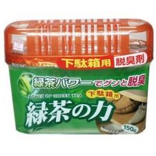 KOKUBO Дезодорант-поглотитель неприятных запахов, экстракт зелёного чая, для обувных шкафов,150 г