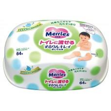 Merries, влажные салфетки (зеленые), контейнер, 64 шт
