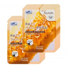 3W Clinic Освежающая тканевая маска для лица с пчелиным молочком, 10 шт
