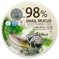 3W Clinic, Гель универсальный Улиточный муцин Snail Soothing Gel 98%, 300 мл