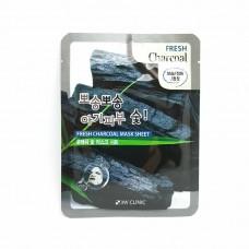 3W Clinic Освежающая тканевая маска для лица с углем, 1 шт