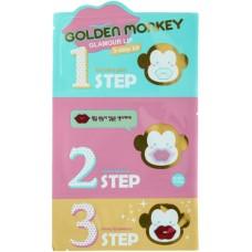 Holika Holika (7788) Набор средств для ухода за губами Golden monkey glamour lip 3-step kit,10шт