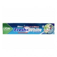 LION Thailand Fresh & White Паста зубная отбеливающая супер прохладная мята 160 г