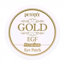 Petitfee Гидрогелевые патчи для век с золотыми частицами и фактором роста Hydrogel eye patch premium Gold & EGF, 60 шт