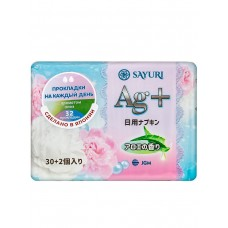 Sayuri Ежедневные гигиенические прокладки с ионами серебра с ароматом Алоэ, 2 капли AG+, 15 см, 32 шт