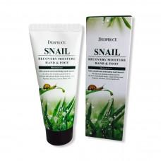 Deoproce Набор крем для ног и рук с муцином улитки Moisture Hand & Foot Snail Recovery, 100 мл х 2 шт