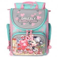 Grizzly, Школьный рюкзак для девочки, серый-розовый, RA-971-3