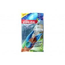 Vileda, перчатки Комфорт с кремом, для чувствительной кожи рук, размер M