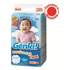 Genki подгузники Premium Soft M (6-11 кг) 64 шт.